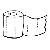 black and white freehand drawn cartoon toilet paper
