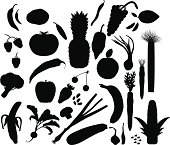 Black and white fruit and vegetable silhouette pattern