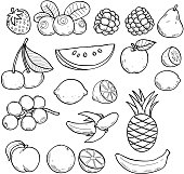 Black and white fruits and berries in sketch style.