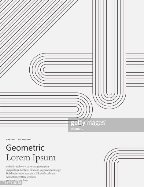 black and white geometric style line pattern background - line stock illustrations