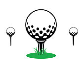 black and white golf ball on a tee with green grass. icon, symbol, sport,