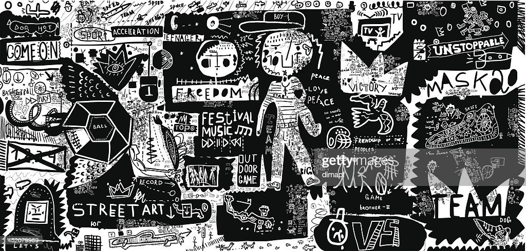 Black and white graffiti-style street art background