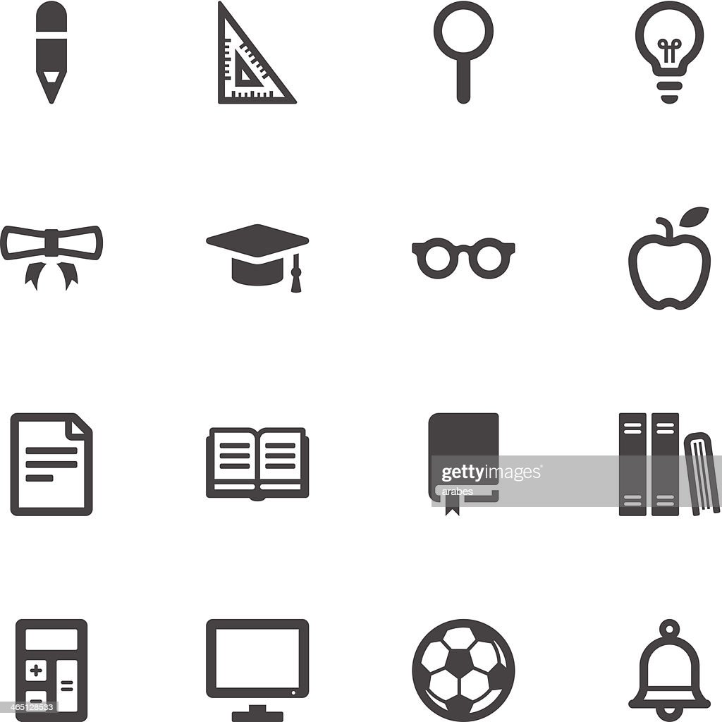 Black and white graphics of education icons