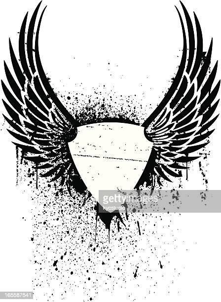 grunge Escudo com asas