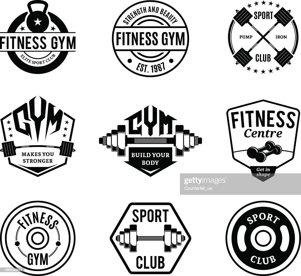 Black and White Gym and Fitness Logotypes, Labels and Badges