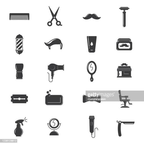 ilustraciones, imágenes clip art, dibujos animados e iconos de stock de iconos de peluquería en blanco y negro - bigote