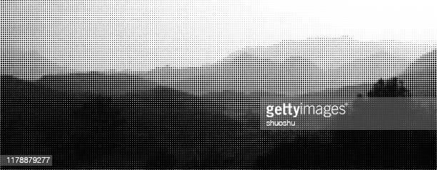 black and white halftone mountain panorama background - panoramic stock illustrations