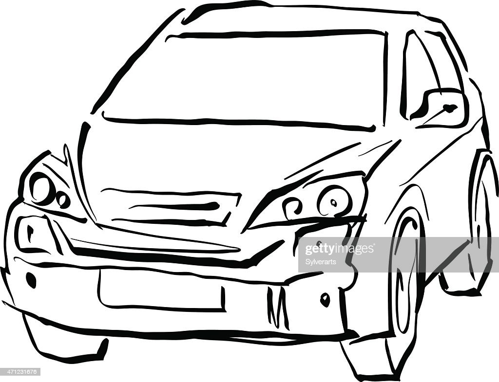 Black and white hand drawn car on white background, illustration