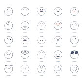Black and white hand drawn emoticons