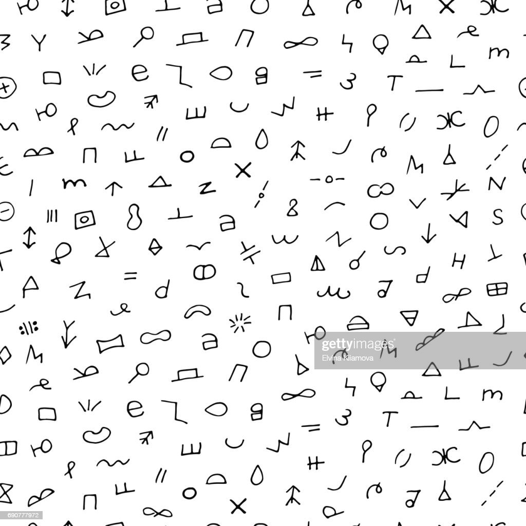 Black and white hand drawn seamless pattern. Abstract doodle background.