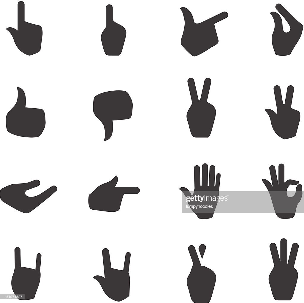 Black and white hand signal icons
