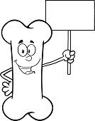 Black and White Happy Bone Mascot Holding Up Blank Sign