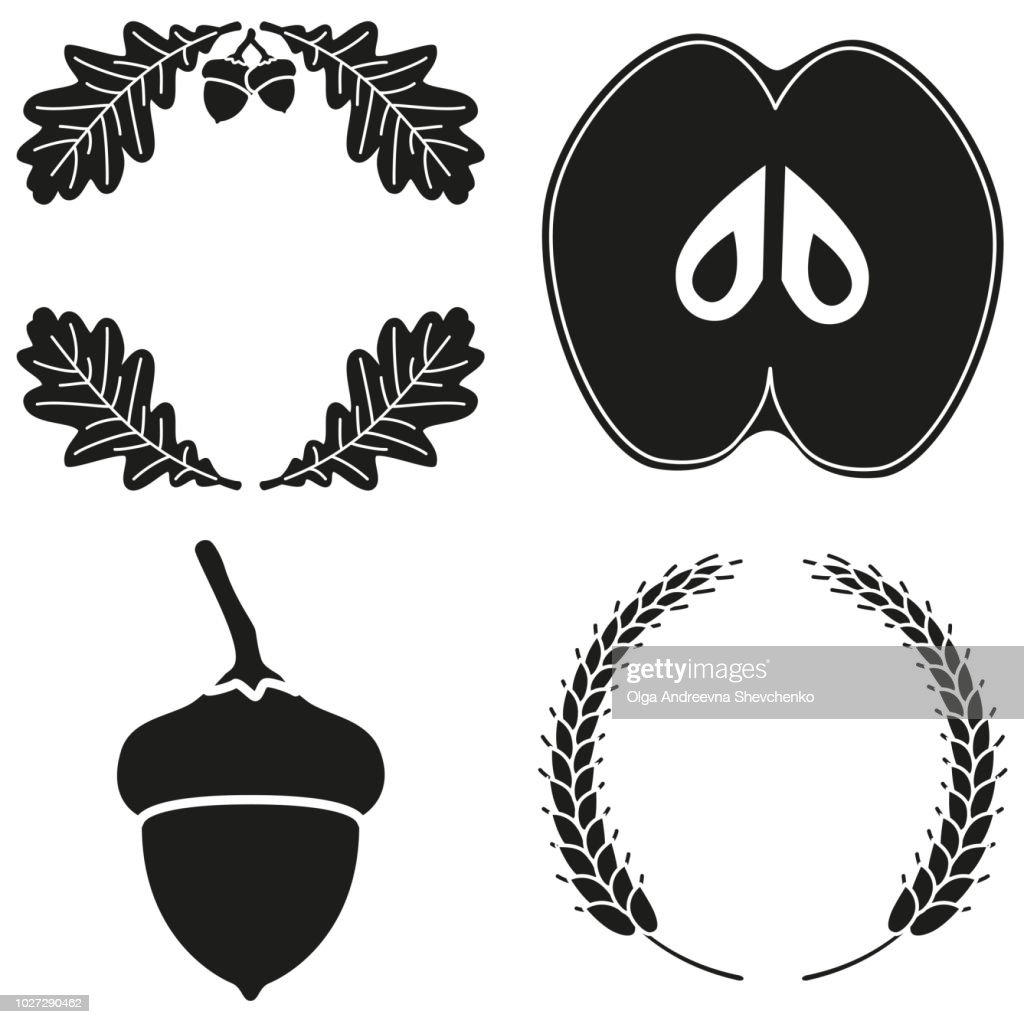 4 black and white harvest silhouette elements set