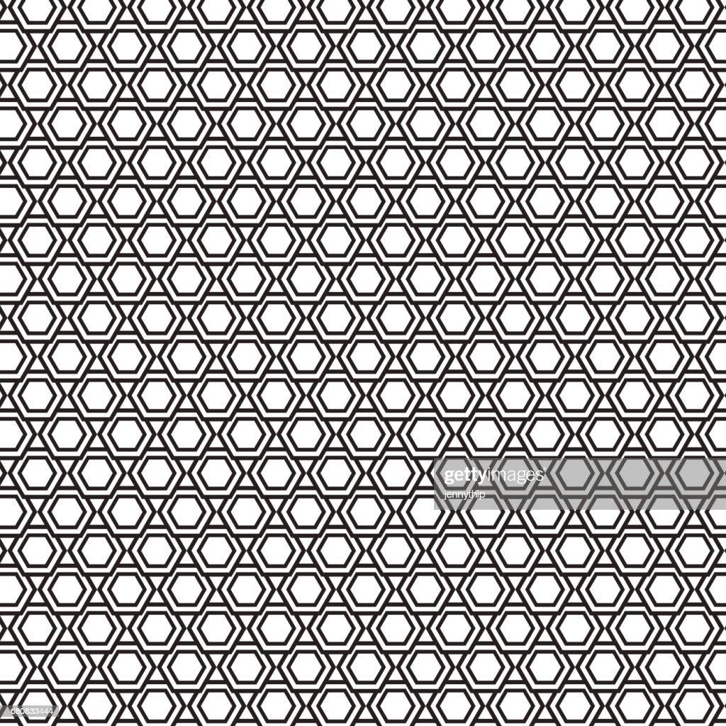 black and white hexagon overlap pattern background