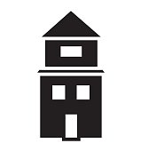 Black and white house with two floors icon vector isolated in white background.