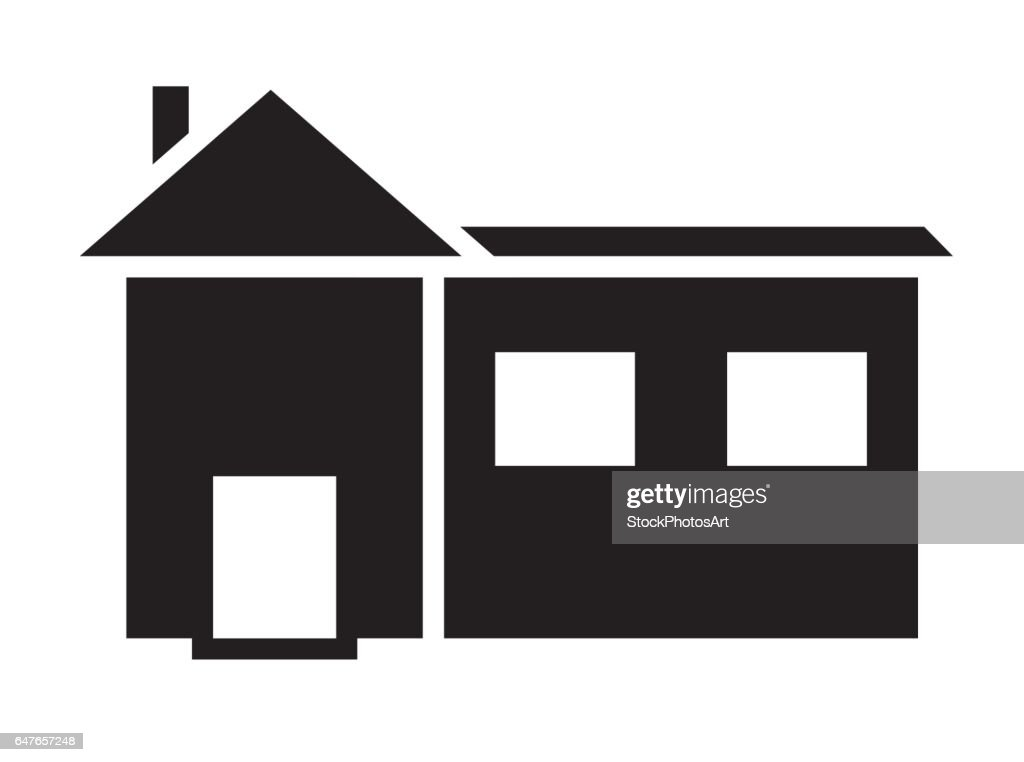 Black and white house with two windows icon vector isolated in white background.