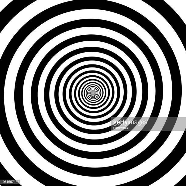 black and white hypnotic spiral - vortex stock illustrations, clip art, cartoons, & icons