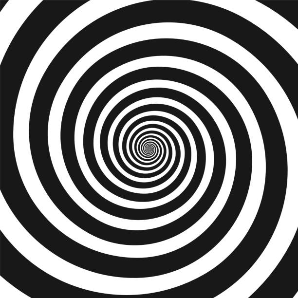 black and white hypnotic spiral - swirl stock illustrations