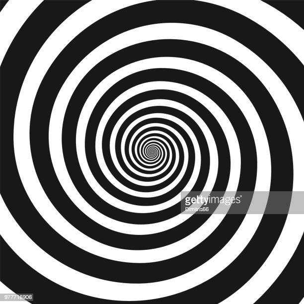 black and white hypnotic spiral - spinning stock illustrations