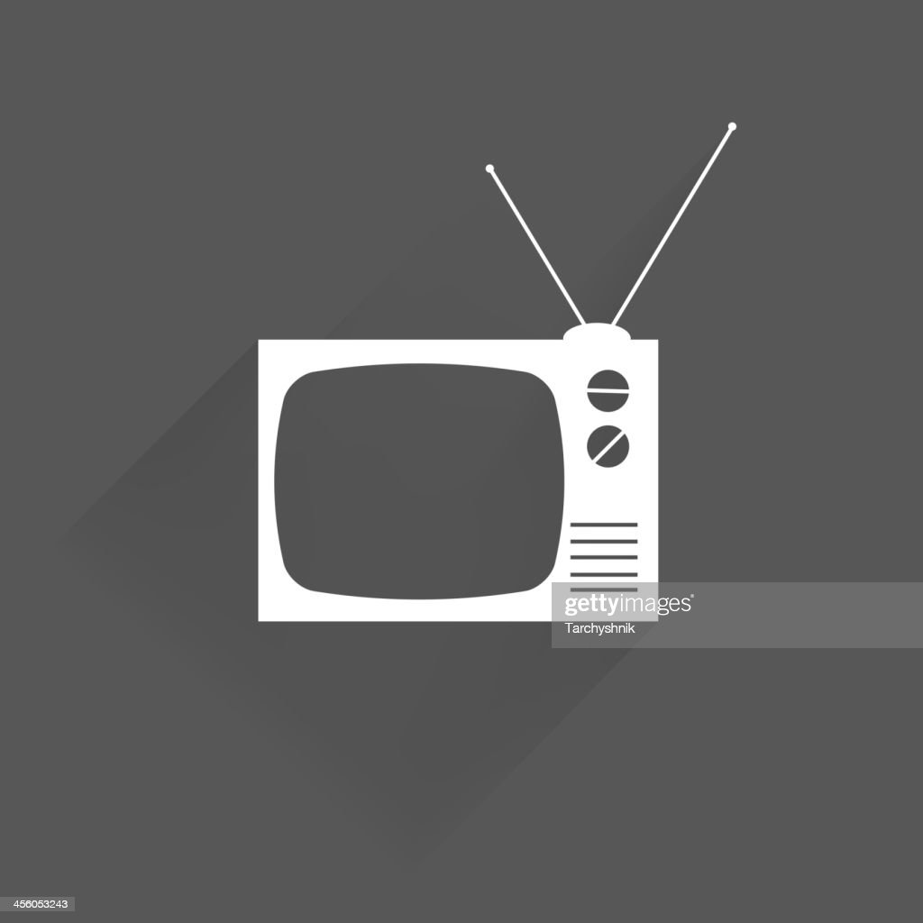 Black and white icon of a retro TV