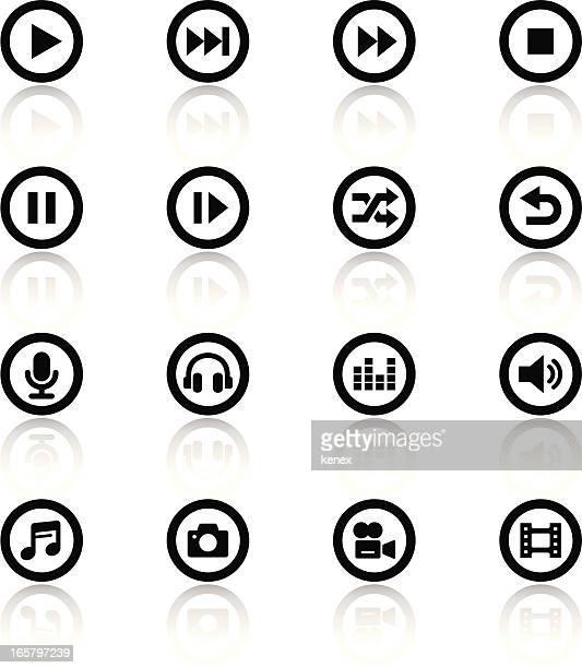 Black and white icon set for media