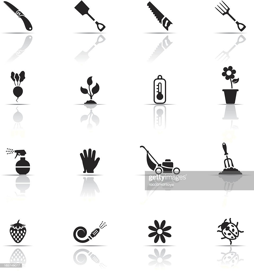 Black and white icon set of gardening related items