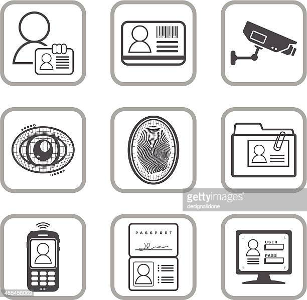 Black and white icons for identification