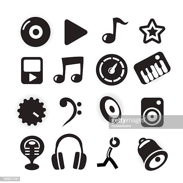 black and white icons - music - bass clef stock illustrations, clip art, cartoons, & icons