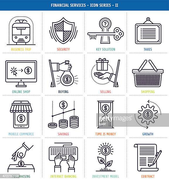 Black and white icons of financial services