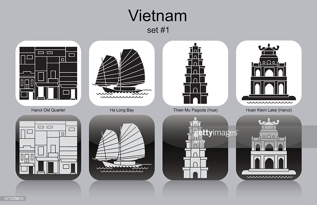 Black and white icons representing Vietnam