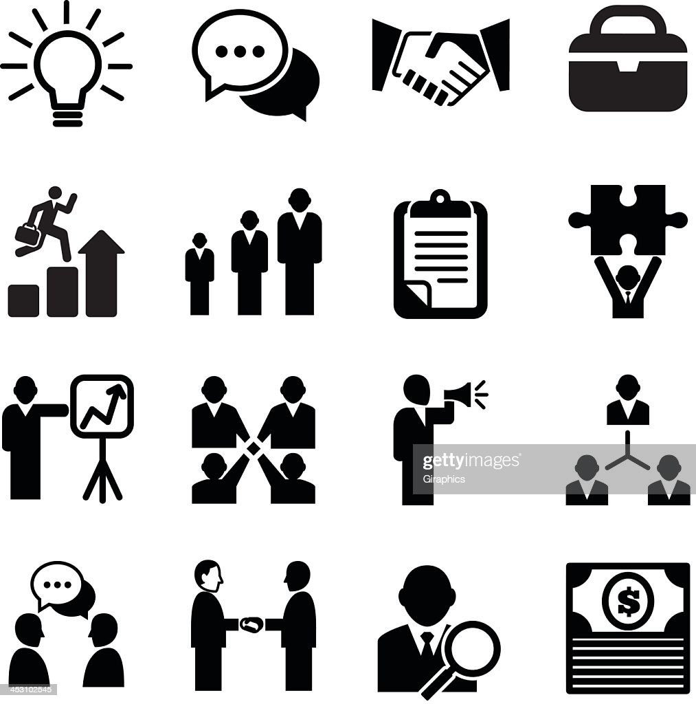 Black and white icons showing business activities