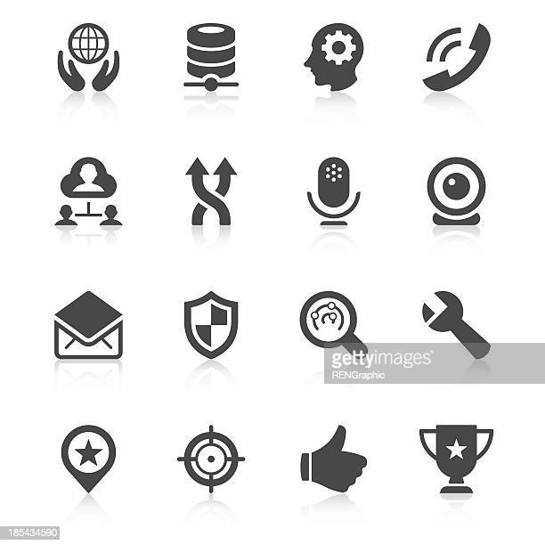 black and white illustrated web icons - webcam media apparaat stock illustrations