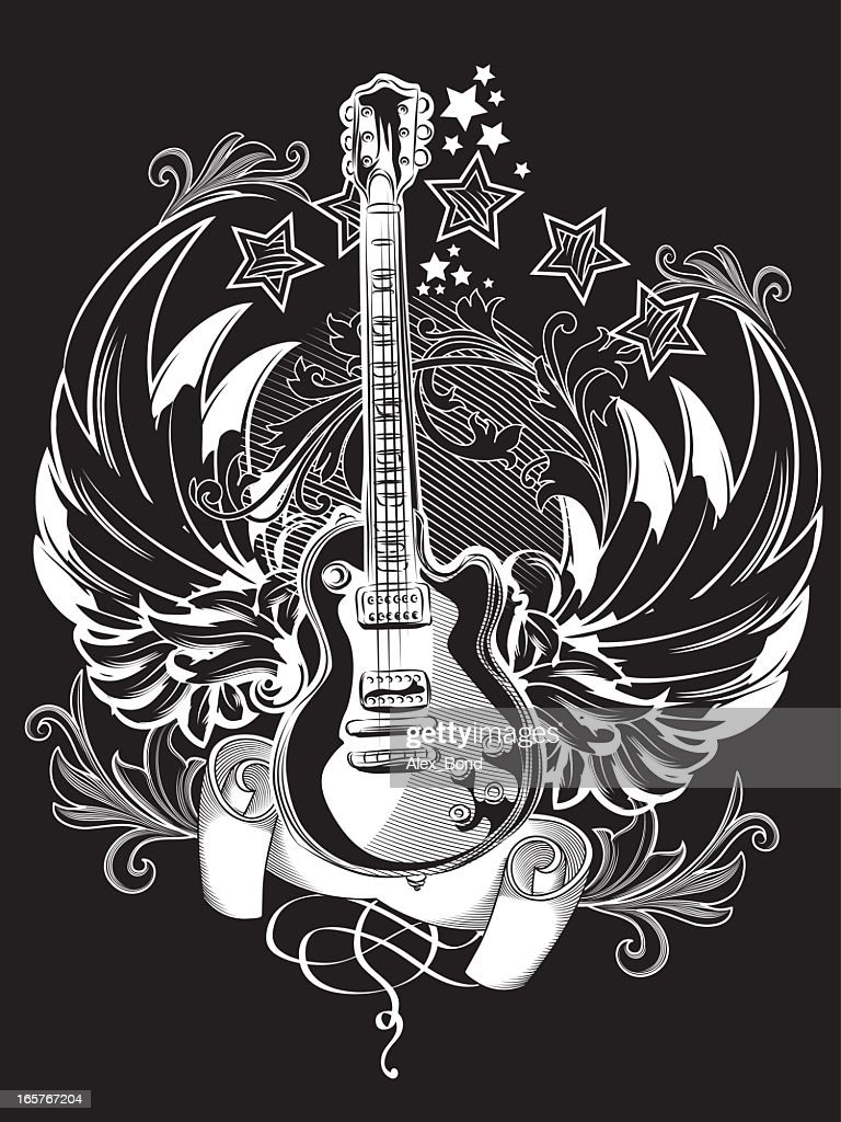 Black and white illustration of a guitar emblem