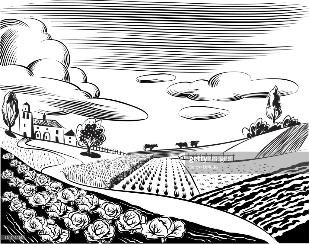 Black and white illustration of church and farm fields