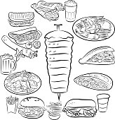Black and white illustration of doner kebab and other foods