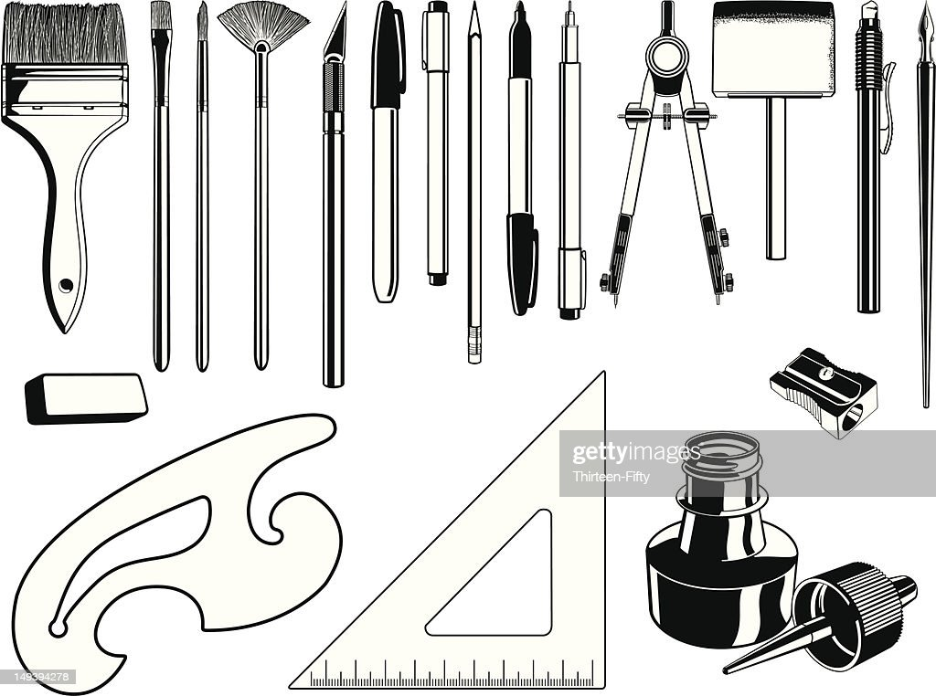 Black and white illustrations of art supplies