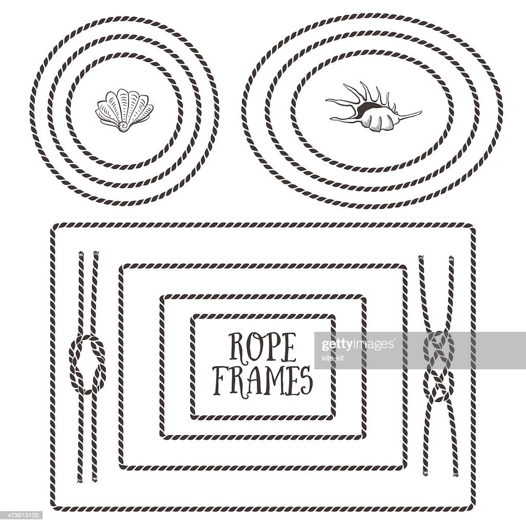 Black and white illustrations of different rope frames