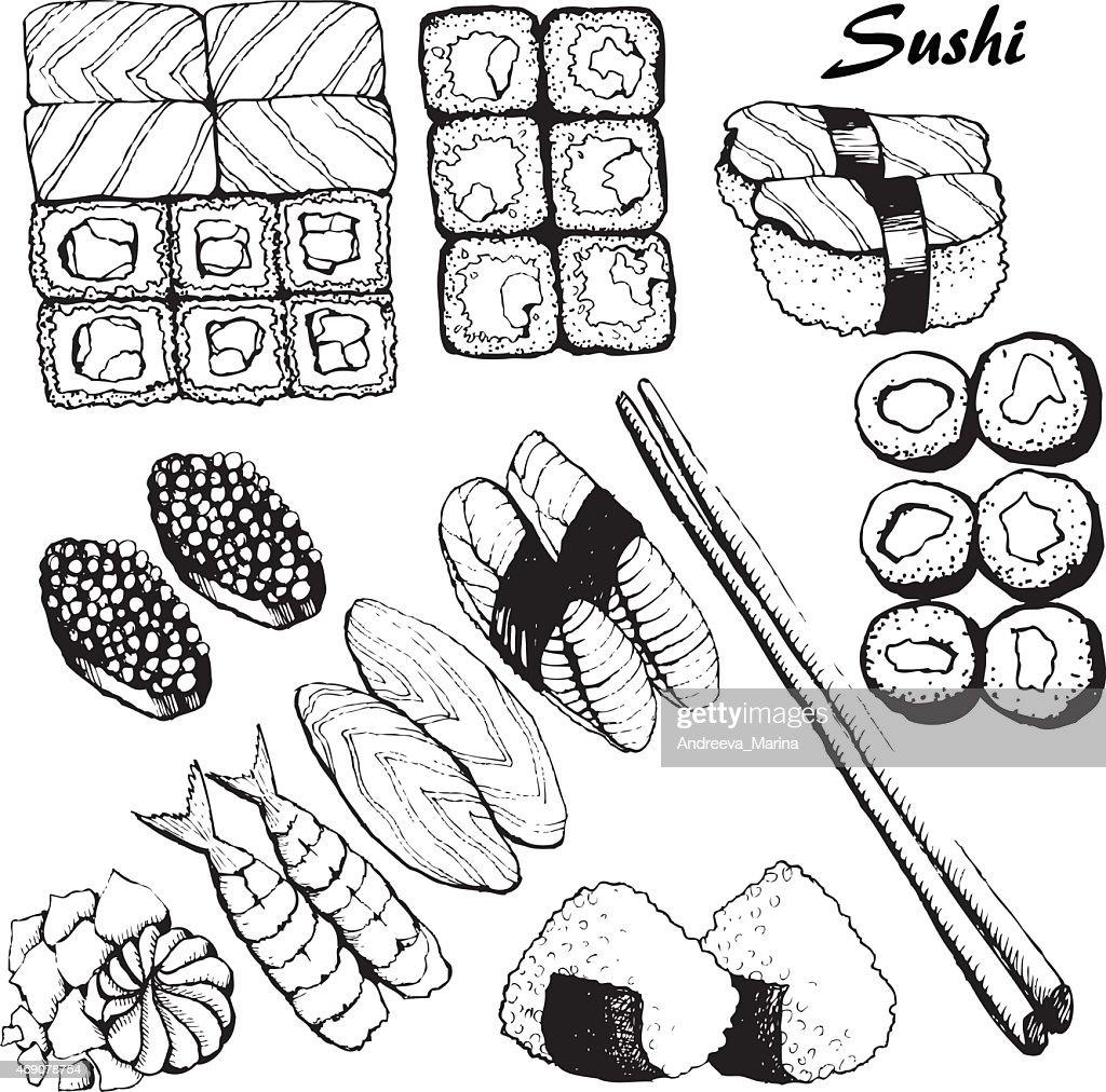 Black and white illustrations of sushi