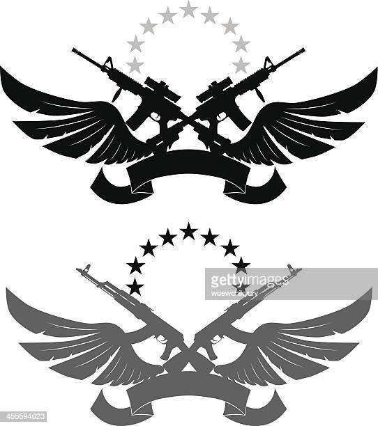 ilustraciones, imágenes clip art, dibujos animados e iconos de stock de emblema de militares - ak 47