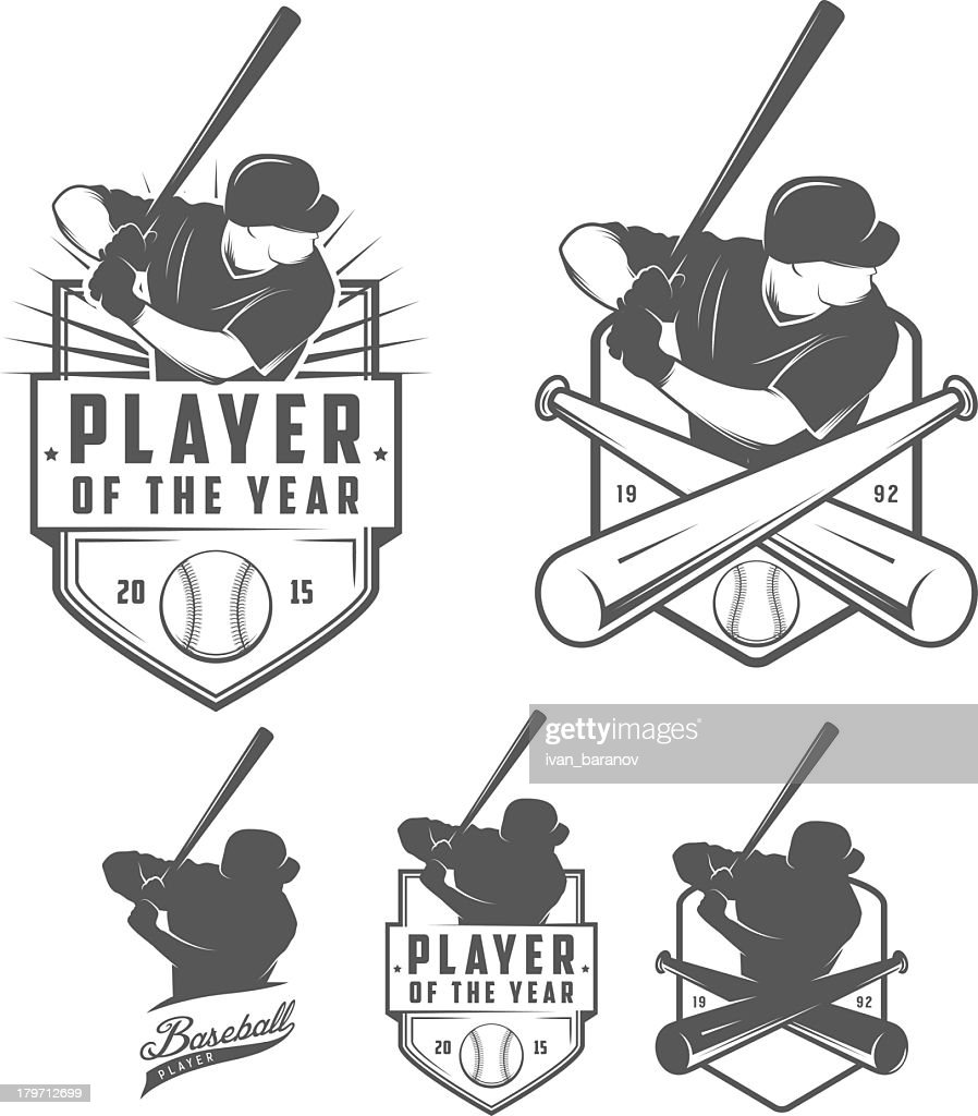 Black and white images of baseball badges