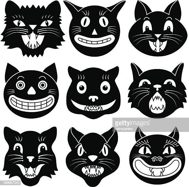 black and white images of halloween cat heads - halloween cats stock illustrations