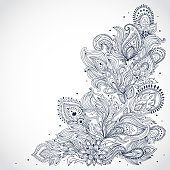 Black and white Indian floral pattern on a white background