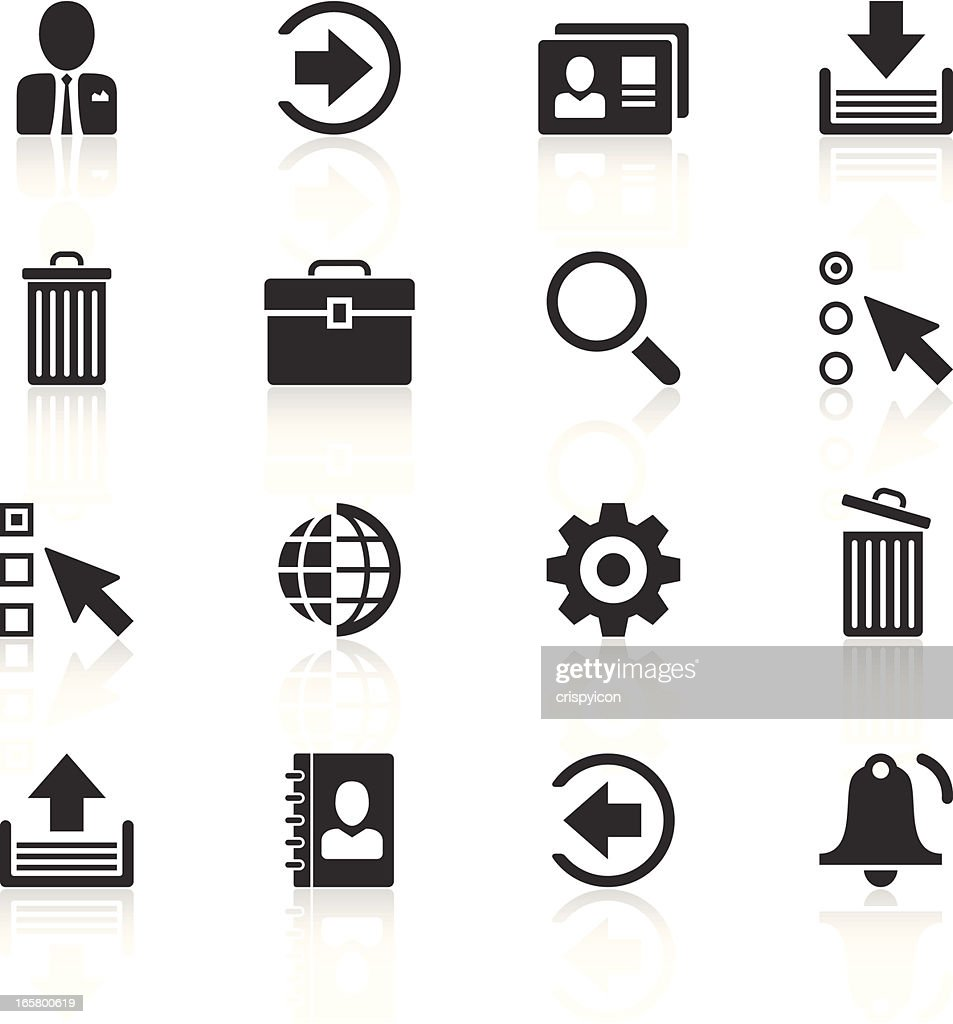 Black and white internet icon vector set with shadows