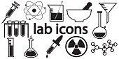 Black and white laboratory icons vector isolated white background.