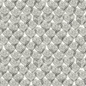 Black and white linear seamless texture with hearts