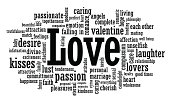 Black and white love word cloud illustration
