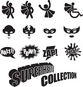 Black and white male female superhero icons collection