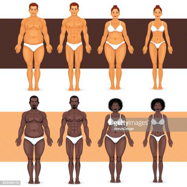 black and white man and woman losing weight - male likeness stock illustrations