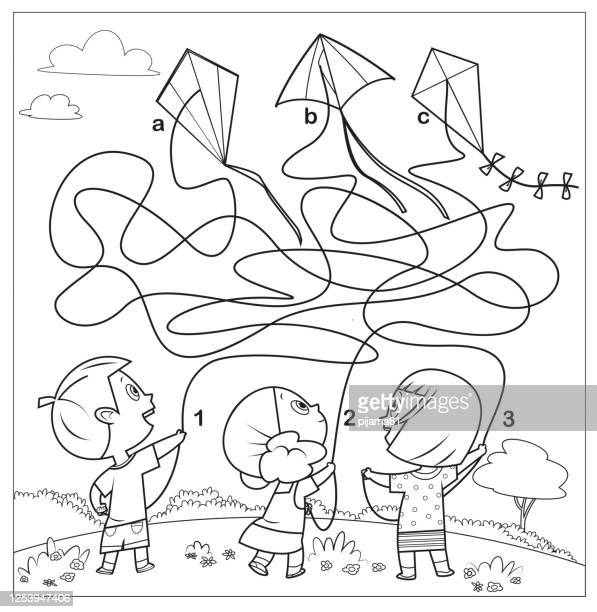 black and white, maze game for children - kite toy stock illustrations