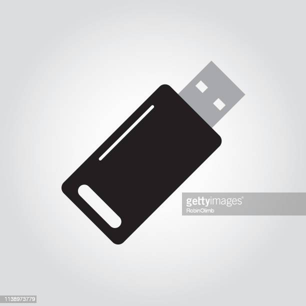black and white memory stick icon - hard drive stock illustrations, clip art, cartoons, & icons